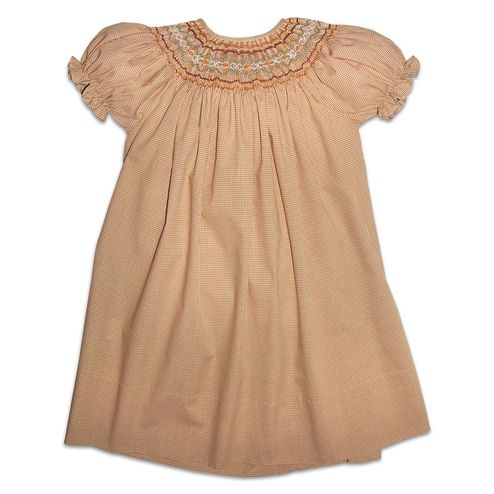 Maggie Tiny Gingham Beige Smocked Bishop 11F 3869 A
