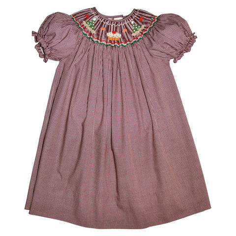 Birthday Brown Gingham Smocked Bishop 11F 4077 A