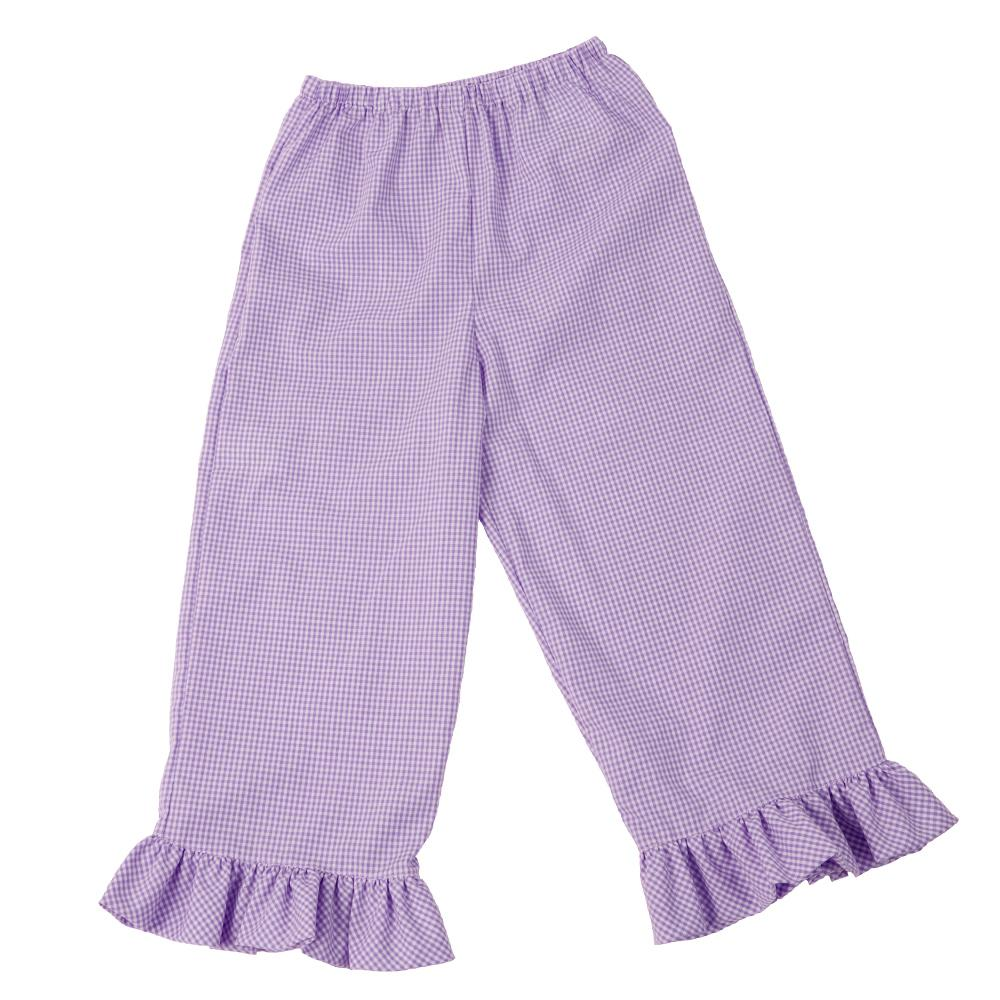 Purple Gingham Pants with Ruffles & Pockets AYRD 4419 B