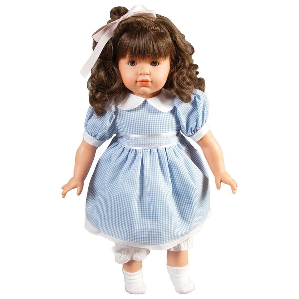 Madison wearing the blue gingham. (doll not included)