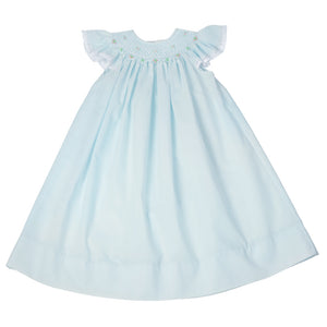 Blue with White Smocked Angel Sleeve Lacy Bishop 13SS AYR 4561 A_BW