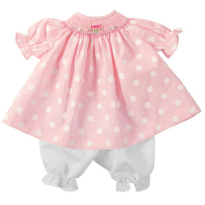 Birthday Pink Polka Dot Smocked Doll Dress 4655 DD
