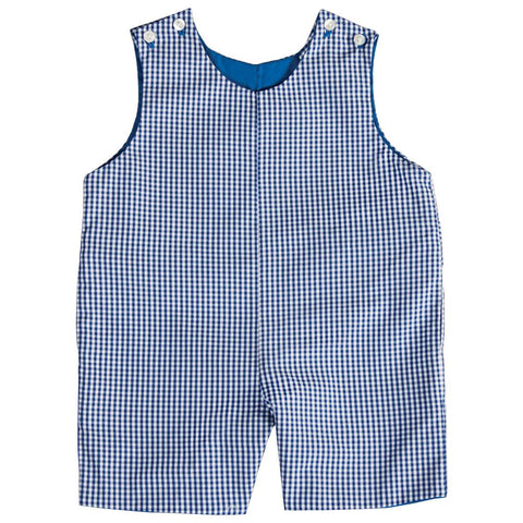 Royal Blue Gingham Reversible Romper AYR 4705 R RBLU