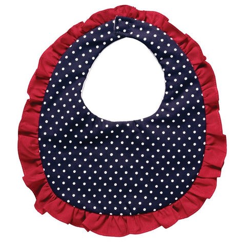 Navy White Polkadot Red Ruffled Bib 4873 BIB