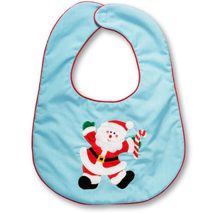 Santa Turquoise with Red Trim Bib 13H 4882BIB