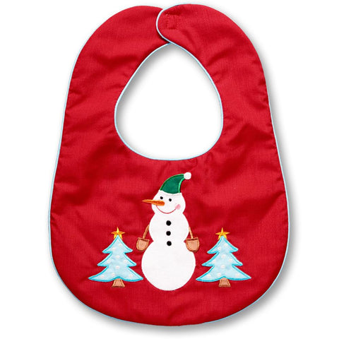 Snowman Red with Turquoise Trim Bib 13H 4883 BIB