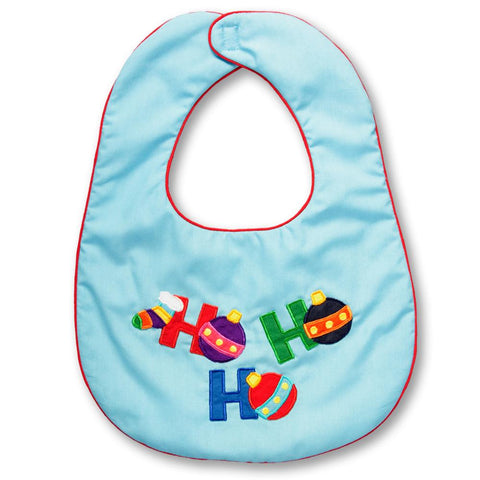HO HO HO Turquoise with Red Trim Bib 13H 4917 BIB T