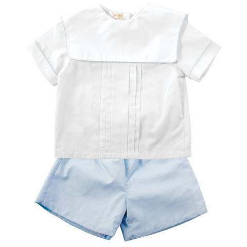 White & Blue 2 pc. Square Collar Short Set AYR 4994 SS2