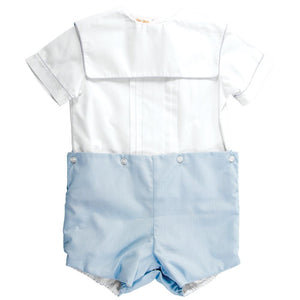 White & Blue Square Collar Button-On Short Set AYR 5040 SS1