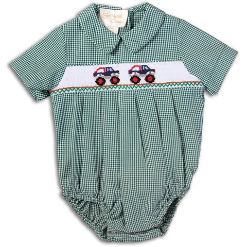 Monster Truck Green Gingham Smocked Boy Bubble 14F 5111 BUB