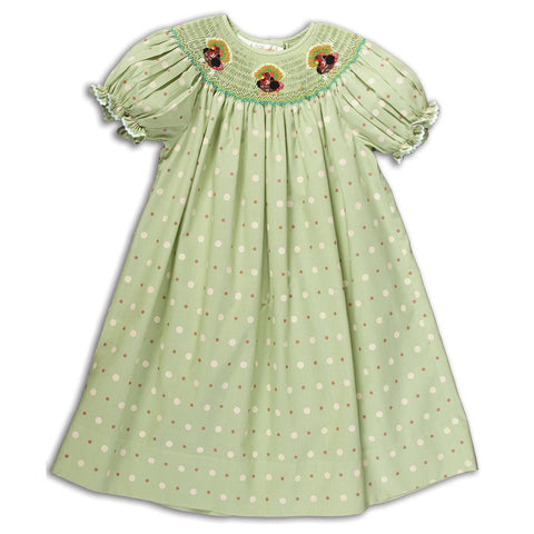 Turkeys Sea Green Multi Dot Smocked Bishop with RicRac 14F 5141 A