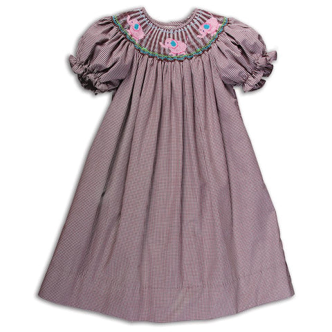 Pink Elephants Dark Brown Gingham Smocked Bishop 14F 5151 A