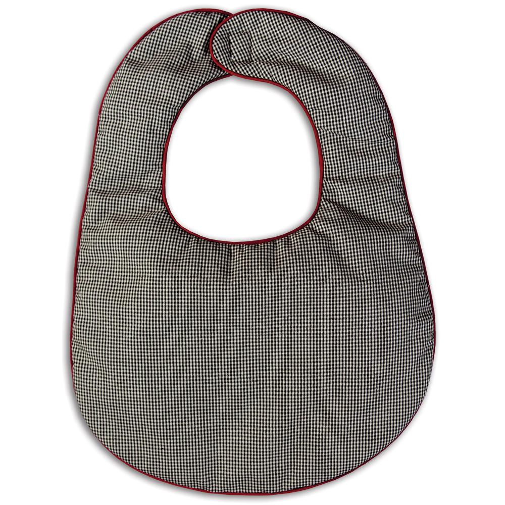 Black Tiny Gingham Bib with Maroon Trim 14F 5156 BIB BLK