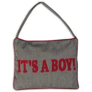 It's A Boy/Girl! Black Tiny Gingham Mini Pillow 5158