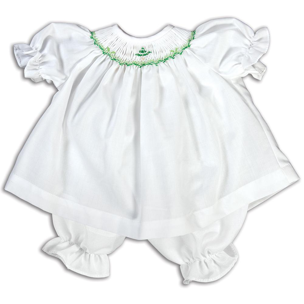 Green Snowy Tree White Smocked Doll Dress 14H 5173 DD GRN