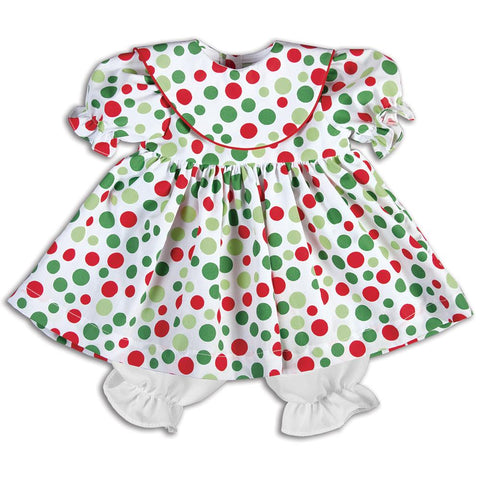 Red & Green Multi-Dot Doll Dress with Collar 14H 5266 DD