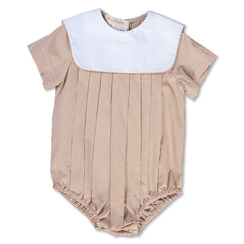 Beige Gingham Boy Bubble with Collar 15SP AYR 5374 BUB BEI
