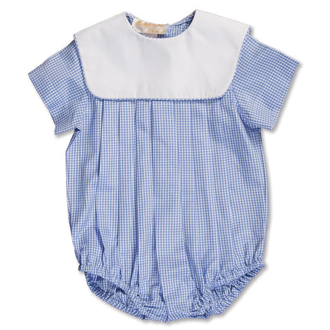 Light Blue Gingham Boy Bubble with Collar 15SP AYR 5374 BUB LBL