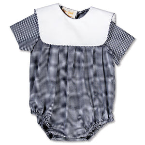 Navy Gingham Boy Bubble with Collar 15SP AYR 5374 BUB NVY