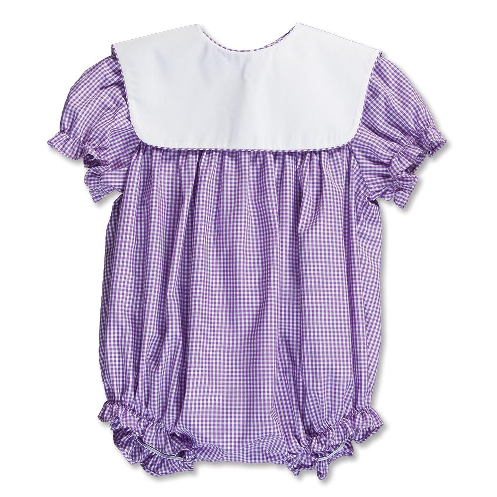 Lavender Gingham Girl Bubble with Collar 15SP AYR 5374 BUG LVD