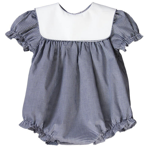 Navy Blue Gingham Girl Bubble with Collar 17 AYR 5374 BUG NVY