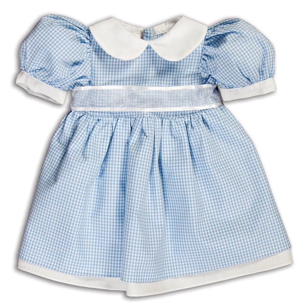 Blue Gingham Pioneer Doll Dress 14SUX 5382 DD BL
