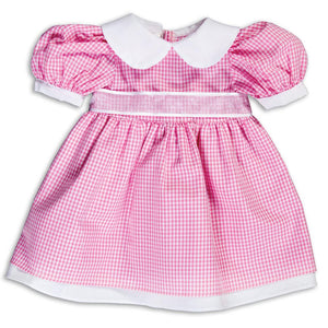 Pink Gingham Pioneer Doll Dress 14SUX 5382 DD PK