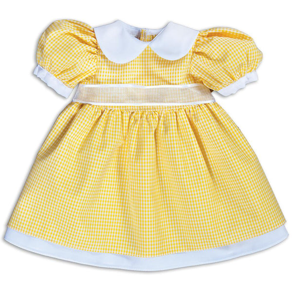 Yellow Gingham Pioneer Doll Dress 14SUX 5382 DD YW