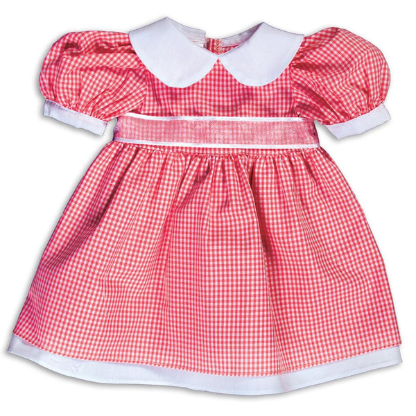 Red Gingham Pioneer Doll Dress 14SUX 5382 DD RED