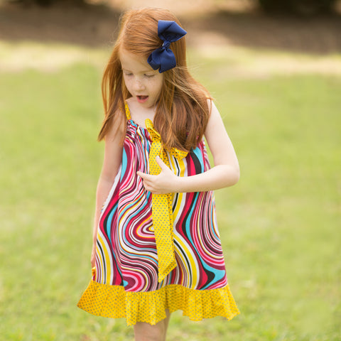 Yellow Swirled Tie Top Sundress 15SU 5361 SD YW