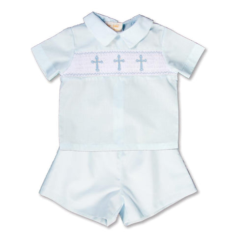Three Crosses Light Blue Smocked Short Set 15SP AYR 5471 SS2 LBL