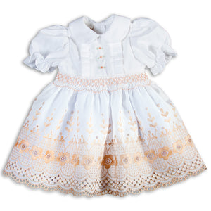 White Beige Floral Lace Smocked Doll Dress 5511 DD BEI