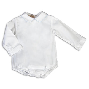 White Long Sleeve Boy Bubble with L.Blue Trim AYR 5557 L BUB LB