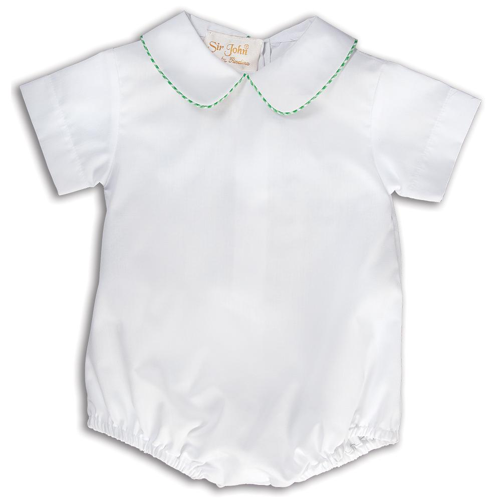 White Boy Bubble with Mint Green Gingham Trim 15SU AYRD 5557 BUB MGRGING