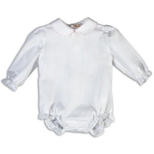 White Long Sleeve Girl Bubble with Pink Trim AYR 5557 L BUG PK