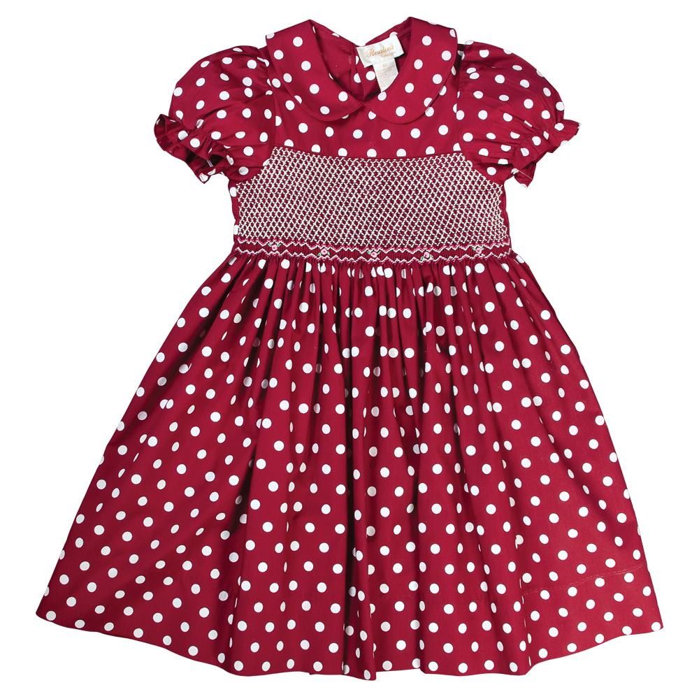 Maroon and White Polka Dot English Smocked Dress 15F 5567 D