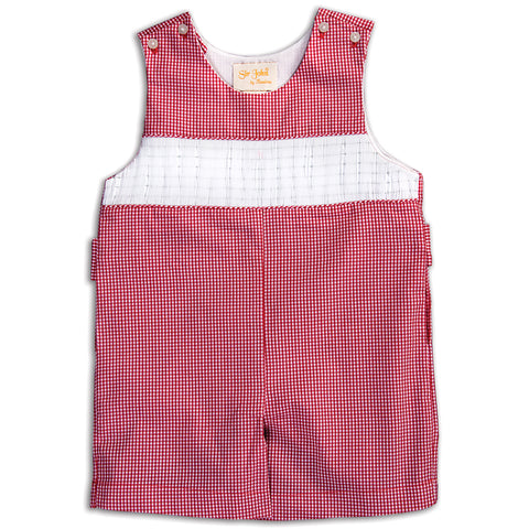Red Gingham Ready-to-Smock Romper AYR 5632 R RED