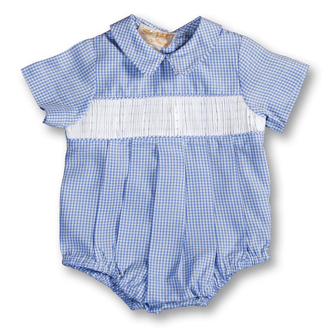 Blue Gingham Ready-to-Smock Boy Bubble 15 AYR 5668 BUB BL