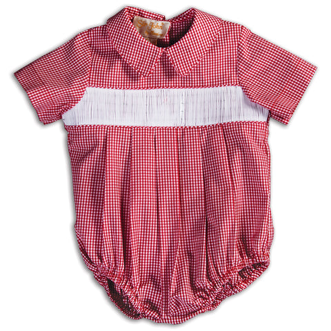 Red Gingham Ready-to-Smock Boy Bubble 15 AYR 5668 BUB RD