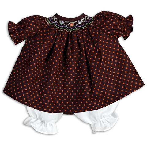 Orange Polkadot Brown English Smocked Doll Dress 15F 5674 DD