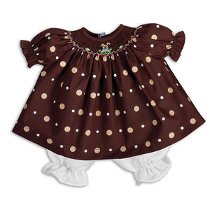 Puppy Time Brown Polkadot Smocked Doll Dress