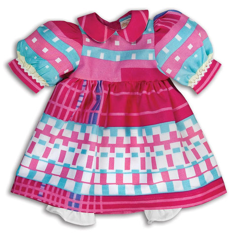 Pink Squares Retro Print Doll Dress 16SP 5697 DD