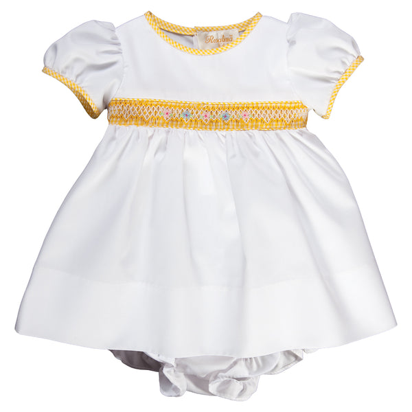 Darla White with Yellow Gingham English Smocked Dress w/Bloomer 16SP 5736 D