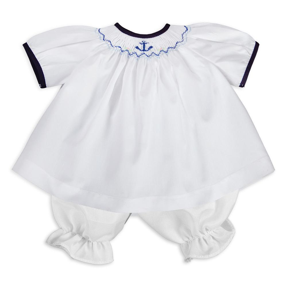Anchors Aweigh White & Blue Smocked Doll Dress 16SU 5738 DD