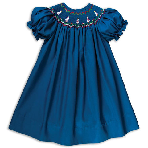 White Christmas Trees Royal Blue Smocked Bishop 16H 5811 A