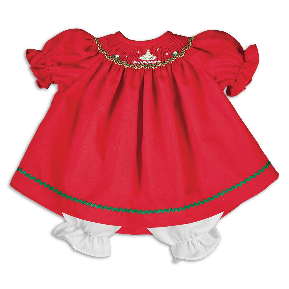 Sparkling Christmas Trees Red Smocked Doll Dress 16H 5867 DD RD