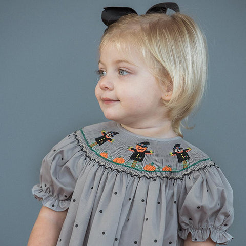 Scarecrow Pumpkin Patch Grey w/Black Dots Smocked Bishop 16F 5870 A