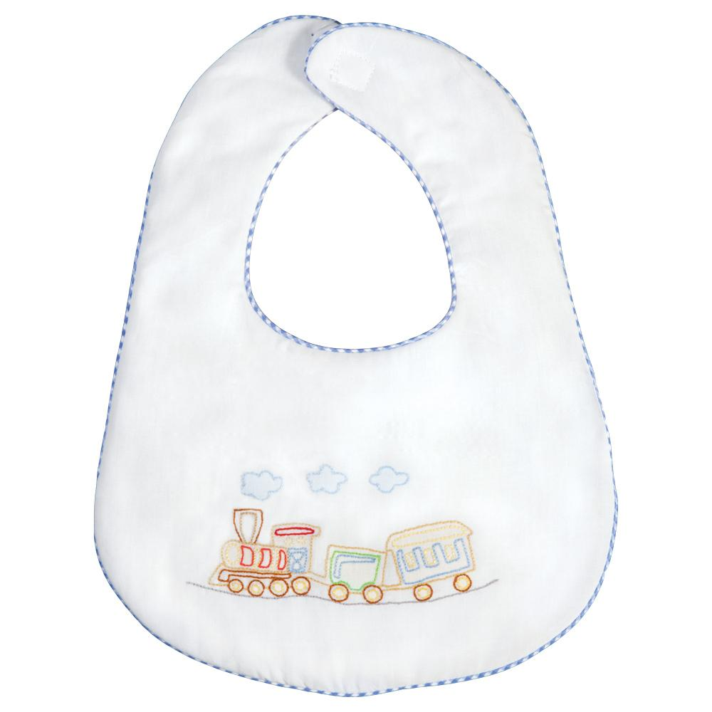 Train Shadow Embroidered w/Blue Gingham Trim Bib 17SP 5904 BIB