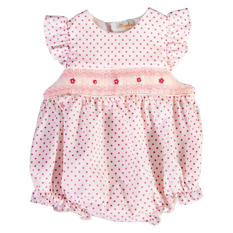 Amelia Pink Fuchsia Dot English Smocked Angel Sleeve Girl Bubble 18SP 5924 BUG