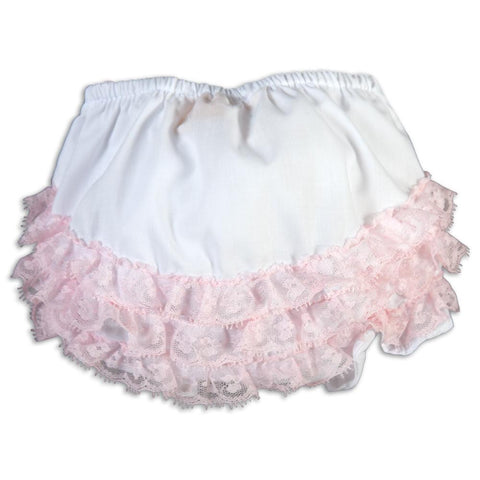 White Diaper Cover with Pink Ruffled Lace AYR 5934DCG WH